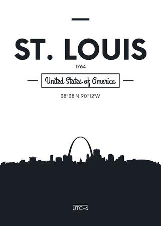 settled: Poster city skyline St Louis, Flat style vector illustration