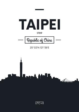 settled: Poster city skyline Taipei, Flat style vector illustration