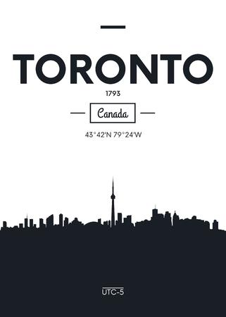 Poster city skyline Toronto, Flat style vector illustration