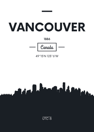 Poster city skyline Vancouver, Flat style vector illustration