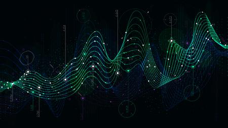 Calendario de datos estadísticos, indicador analítico de fondo de ciencia-ficción Ilustración de vector