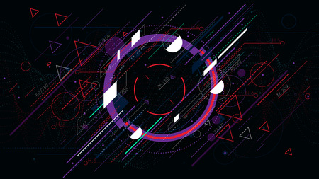 Tech futuristic abstract backgrounds, colorful circle.