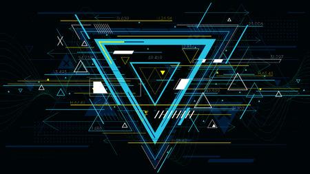 Fondos abstractos futuristas de la tecnología, triángulo colorido.