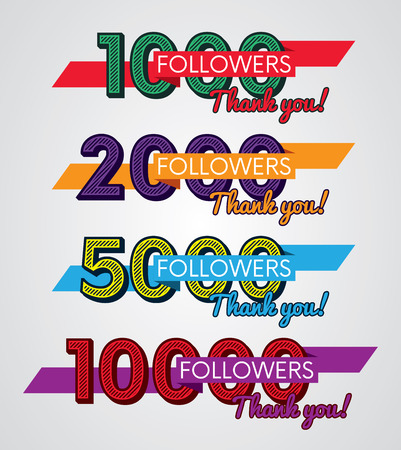 subscriber: Thank you followers, Image for Social Networks, Vector illustration.