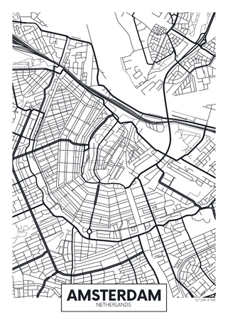 Vector poster map city Amsterdam.
