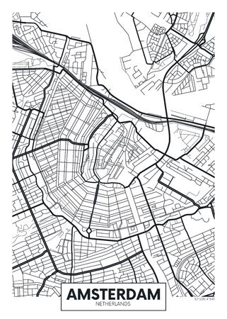 Vektor-Poster-Karte Stadt Amsterdam. Standard-Bild - 75828243