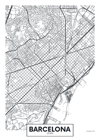 Vector poster map city Barcelona. Stock Illustratie