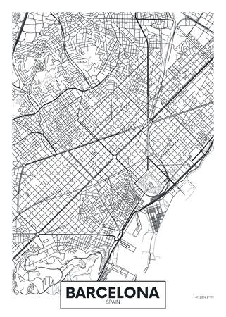 Vector poster map city Barcelona. Illustration