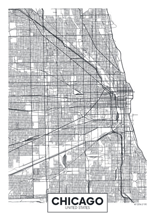 Vector poster map city Chicago.