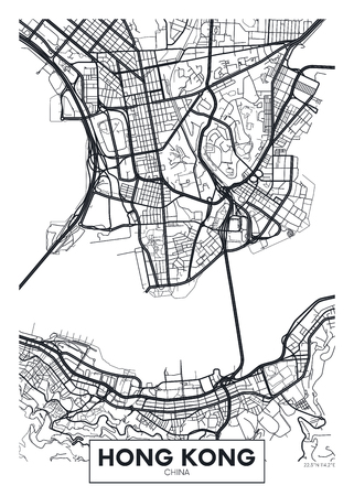 Vector poster map city Hong Kong. Reklamní fotografie - 75828247