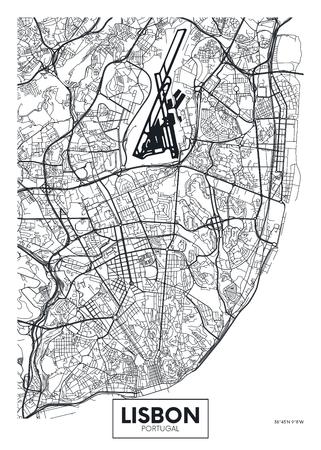 Vector poster map city Lisbon.