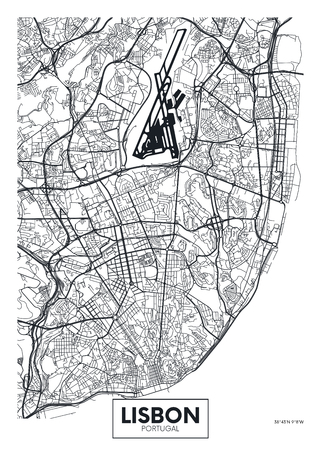 Vector poster map city Lisbon.
