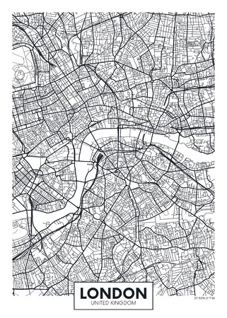 Vector map carte ville Londres Banque d'images - 75942922