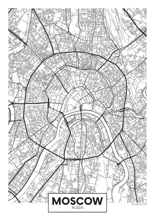 Vector cartel mapa ciudad de Moscú