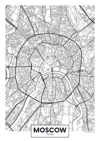 Vector poster map city Moscow