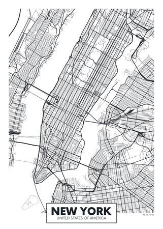 Vector poster map city New York Vettoriali