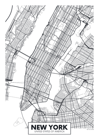 Vector poster map city New York Иллюстрация