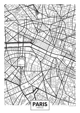 Vector poster map city Paris