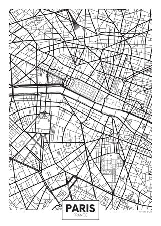 Carte d'affiche de vecteur ville Paris Banque d'images - 75942923