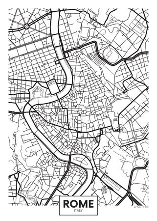 ベクトル ポスター マップ都市ローマ