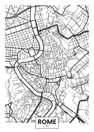 Vector poster map city Rome Illustration