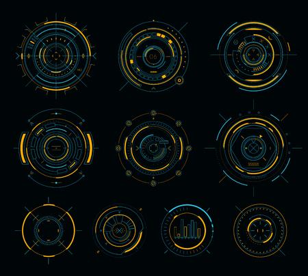 벡터 공상 과학 소설 디스플레이 원형 요소, HUD 미래 지향적 인 사용자 인터페이스