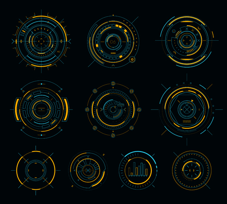 Vector sci-fi display circular elements, HUD futuristic user interface