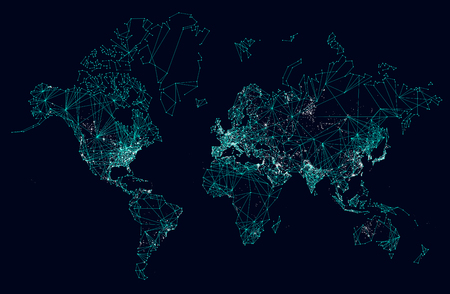 World map abstract internet connection, light urban communications