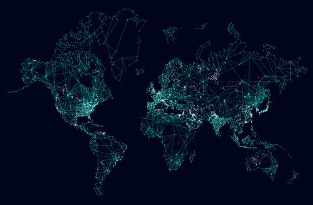 World map abstract internet connection, light urban communications Vektorové ilustrace