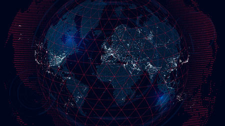 World map of the global communications network, futuristic abstract background
