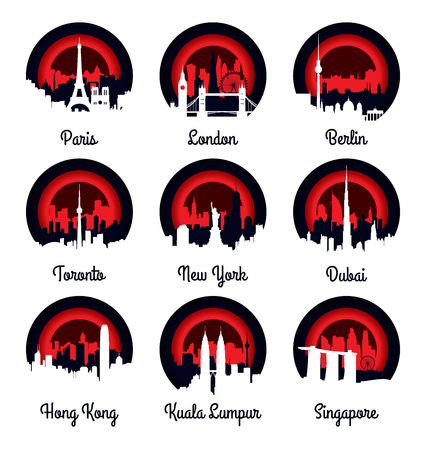elven: Emblems and badge city skyline vector illustration