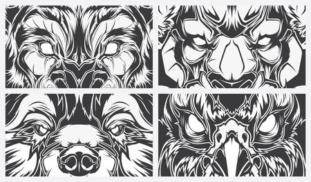目の危険な動物、タトゥー スタイルのベクトルの背景