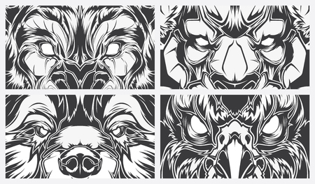 Eyes dangerous animals, tattoo style vector background