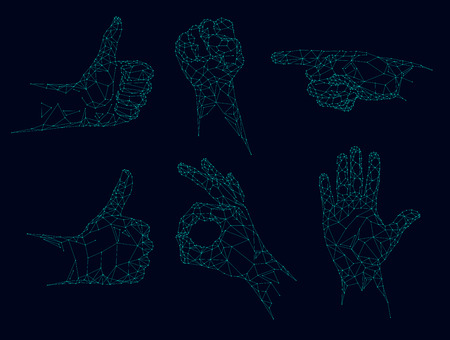 Futuristic low poly hands, Polygonal gestures vector illustration