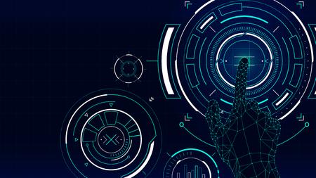 미래의 벡터 배경, 허드 기술 터치 스크린 인터페이스