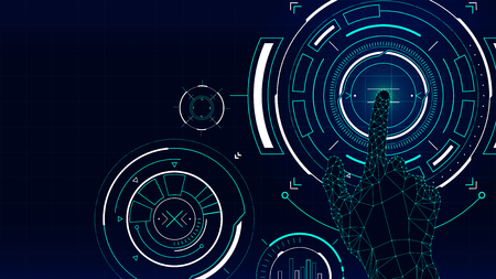 Futuristic vector background, hud technology touch screen interface Vettoriali