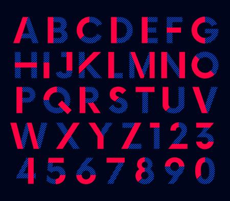Geometric decorative colored font, vector alphabet
