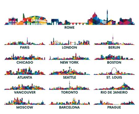 기하학적 패턴의 스카이 라인 도시 미국과 유럽 일러스트