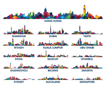 shanghai skyline: Geometric pattern skyline city Arabian Peninsula and Asia