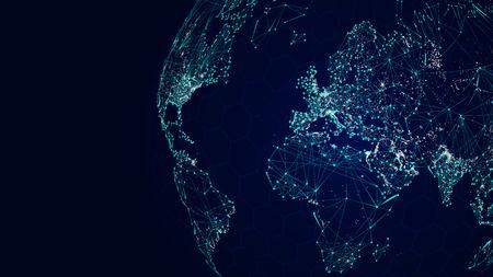 Globe réseau international, fond de la carte du monde de la science-fiction Banque d'images - 75827193
