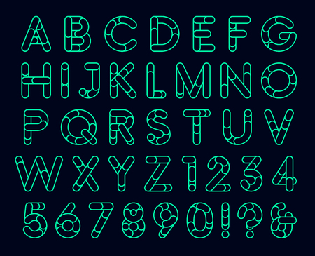 Linear rounded decorative font
