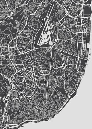 Plan de la ville de Lisbonne, carte vectorielle détaillée