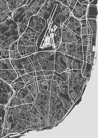 Lisbon city plan, detailed vector map