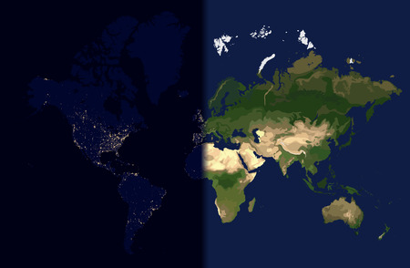 Day in the east, Night in the West, World map illustration
