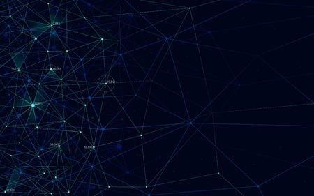 분석 네트워크, 선 메쉬, 현대 기술 요소, 벡터 일러스트와 함께 다각형 구조