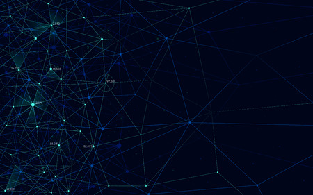 Analytical network, polygonal structure with lines mesh, modern technology element, vector illustration
