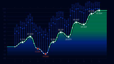 비즈니스 분석 금융 통계 표시, 데이터 시각화, 벡터 배경