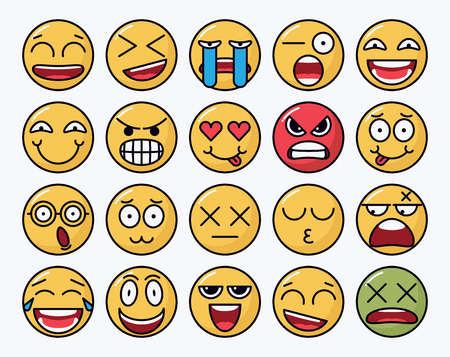 Colorful set of smiley vectors