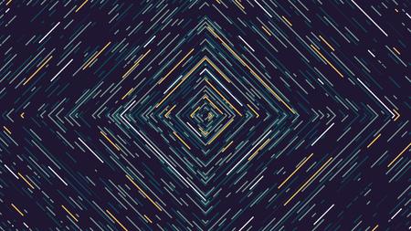 カラー正方形サイバー トンネルを未来的な抽象的な背景、ベクトル イラスト  イラスト・ベクター素材