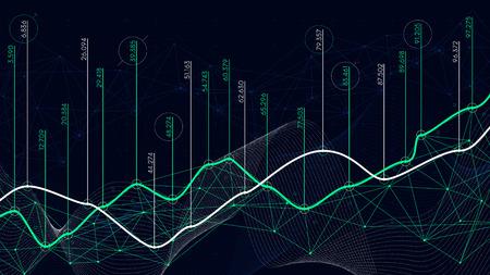 Digital analytics concept, data visualization, financial schedule, vector